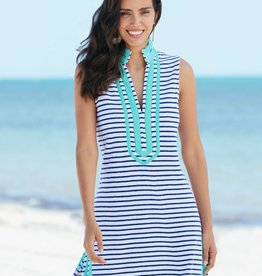 Cabana Life Terry Tunic Navy Stripes
