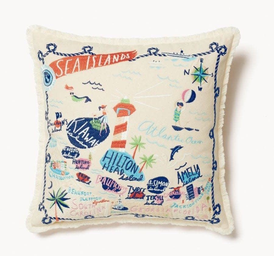 Spartina Sea Islands Embroidered Pillow