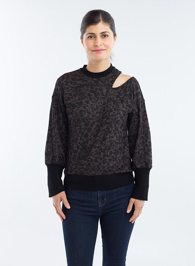 Red Haute Slit Neck Sweater Tortoise