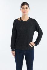 Red Haute Slit Neck Sweater Sparkle Black