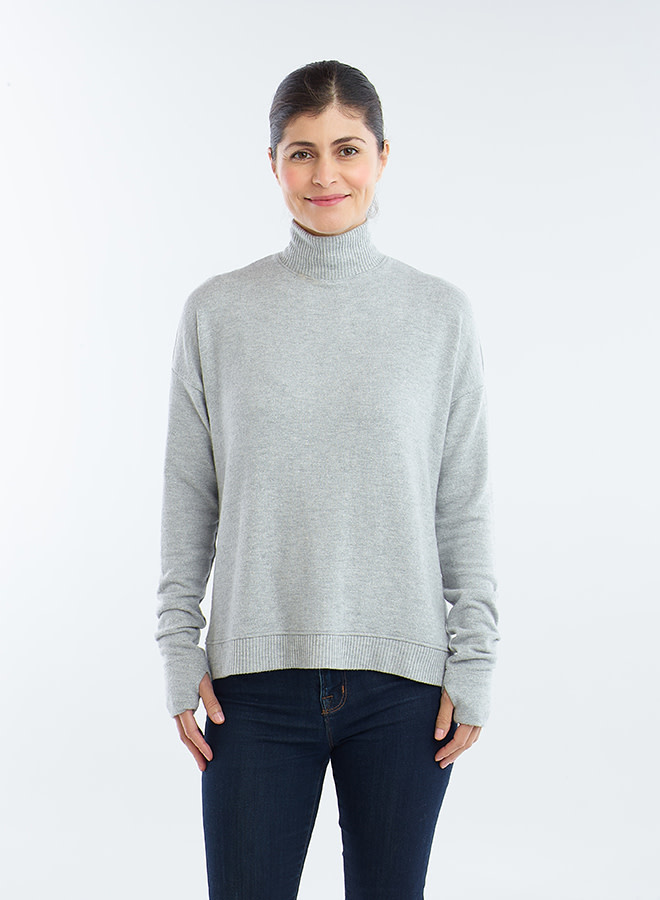Red Haute Split Back Sweater Sparkle Grey