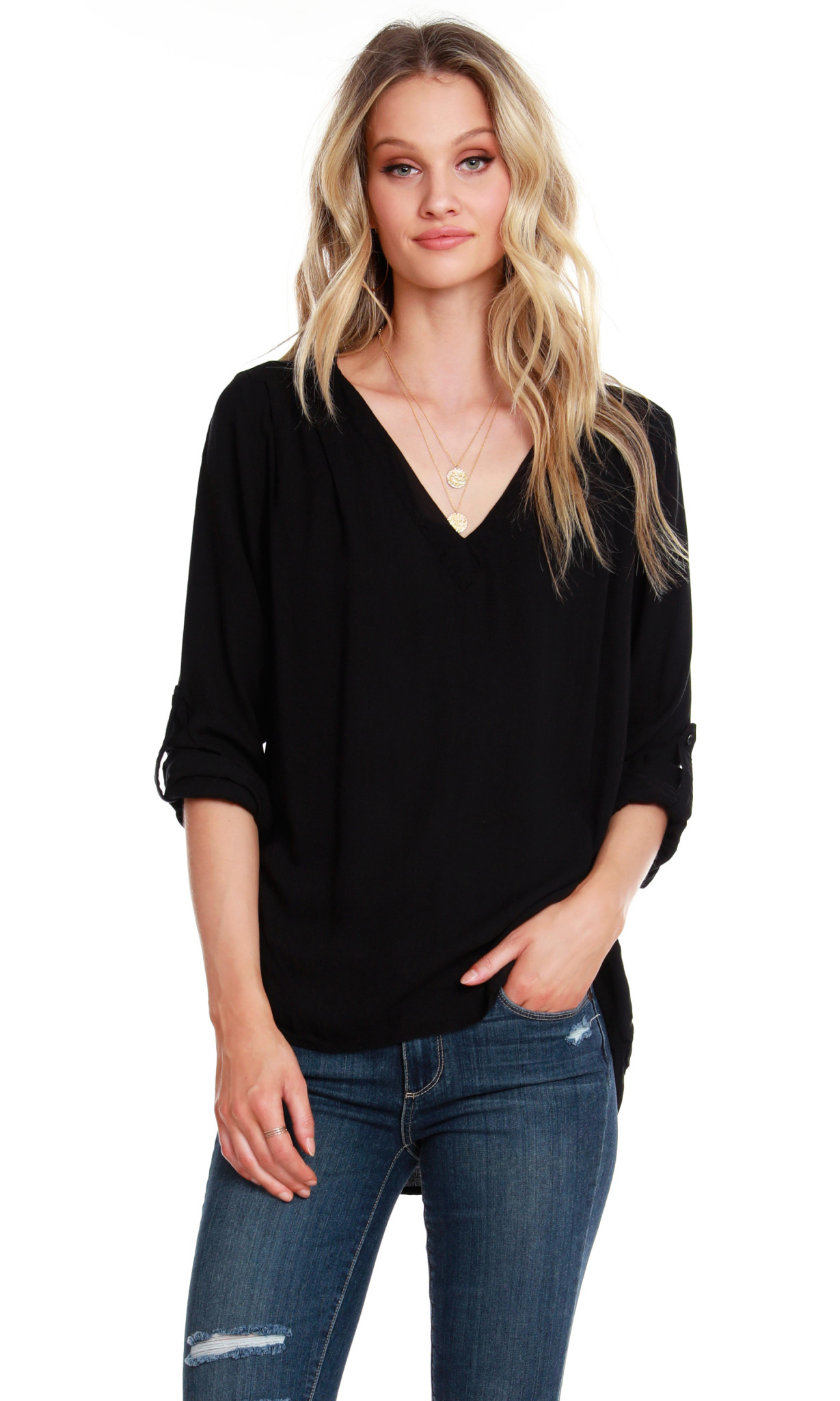 Bobi V Neck Blouse Black