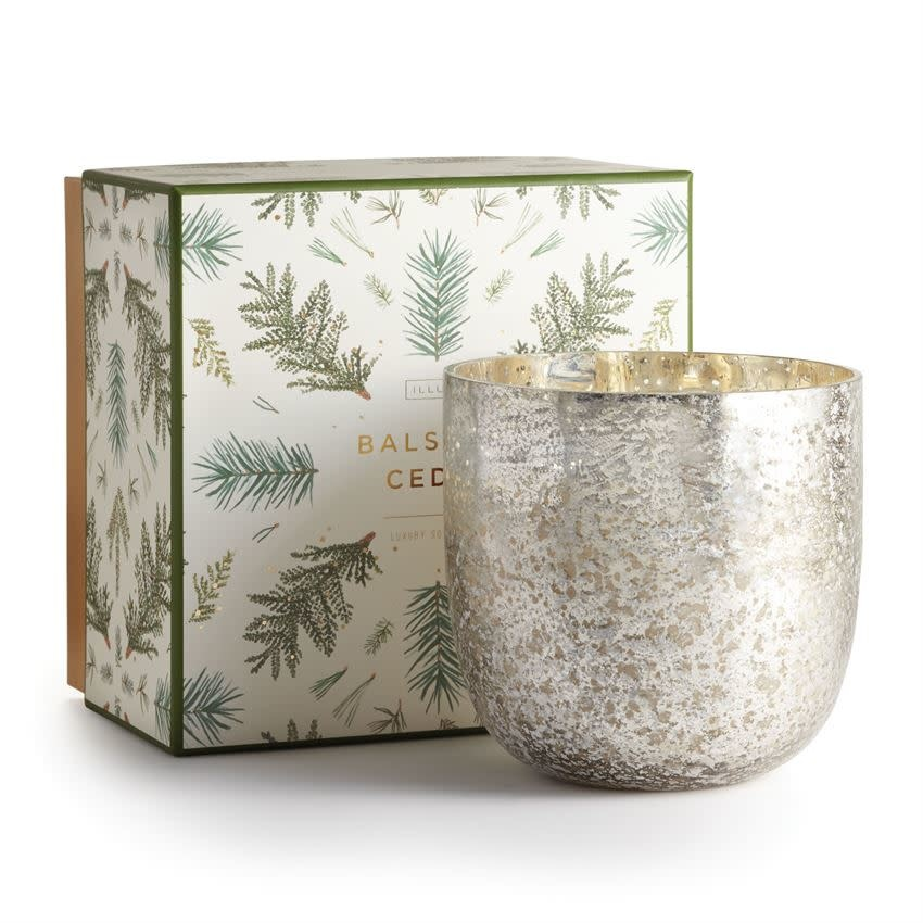 Illume Candle Balsam & Cedar Luxe Sanded Mercury Glass