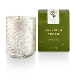 Illume Candle Balsam & Cedar Small Luxe Sanded Mercury Glass