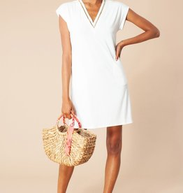 Hale Bob Solid Beaded Dress Ivory