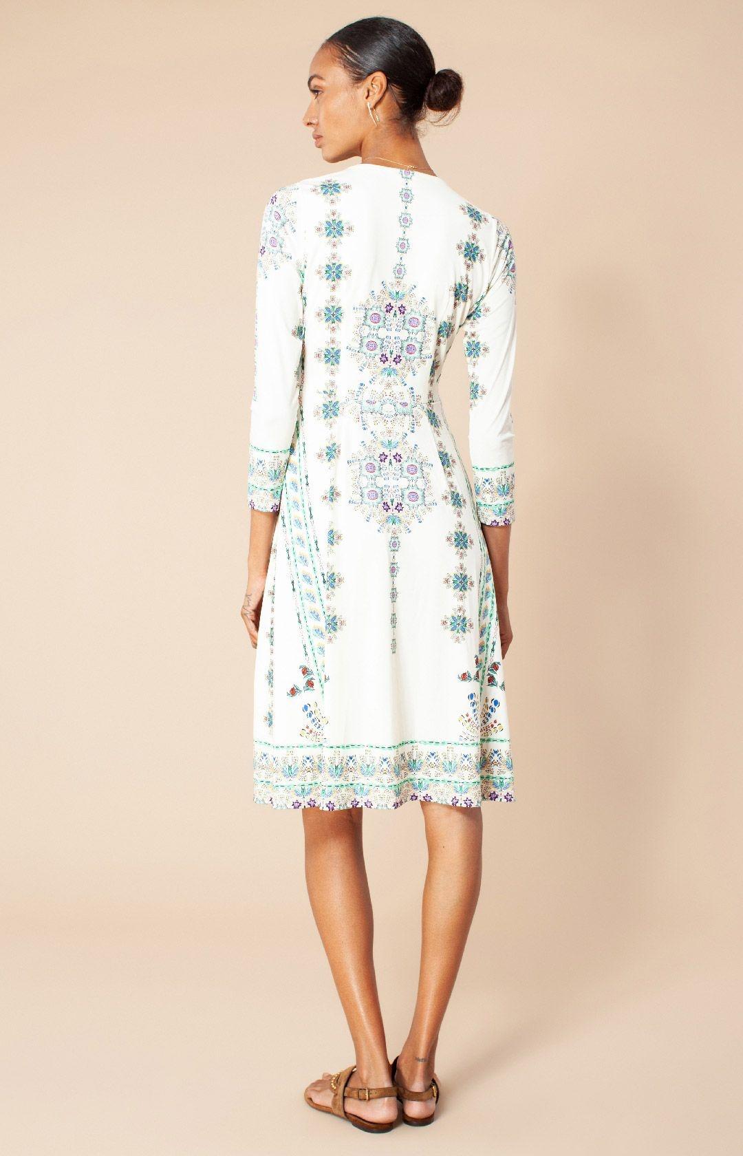 Hale Bob V Neck Dress Multi Ivory