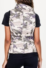 Short Nylon Down Vest Neutral Camo
