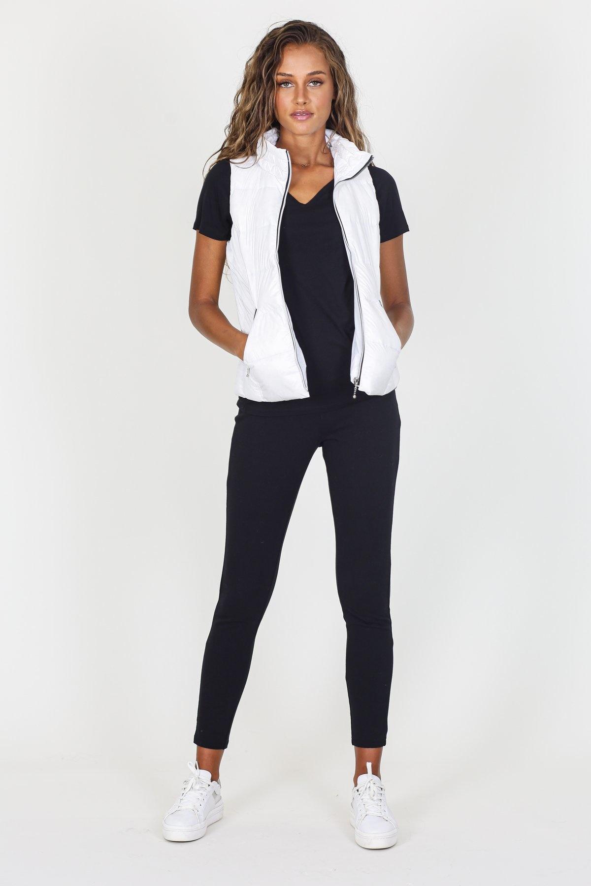 Short Nylon Down Vest White