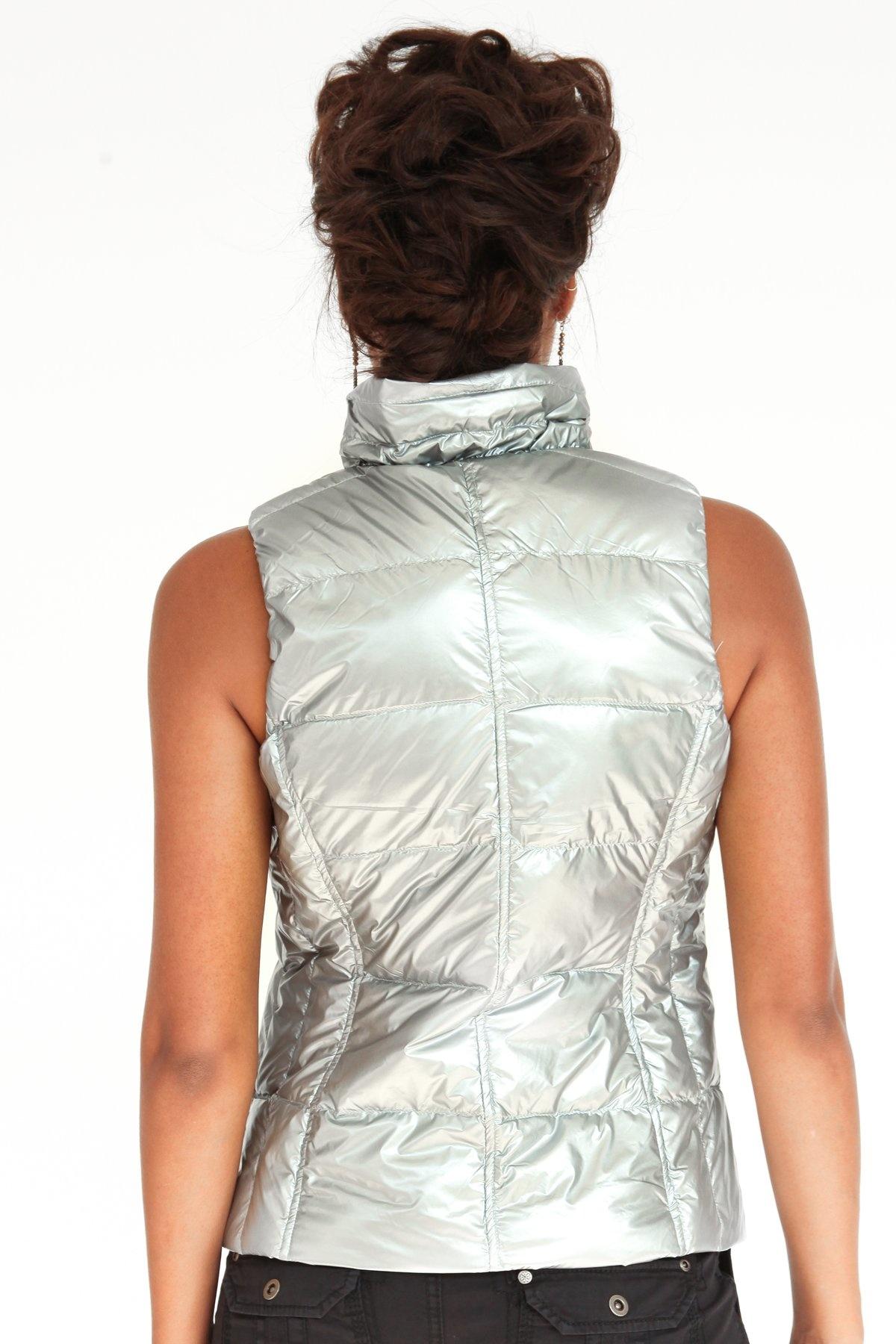 Short Nylon Down Vest Silver