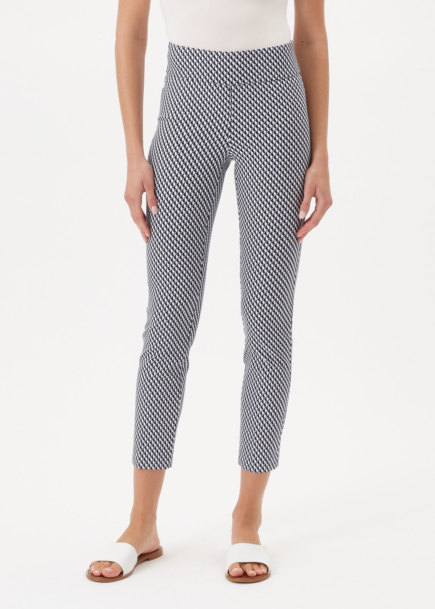 Up Ankle Pant Navy White Geo