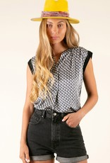 Hale Bob S/S Geo Print Top Black White