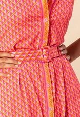 Hale Bob Geo Print Belted Dress Coral
