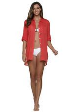 Helen Jon Relaxed Shirt Dress Coral