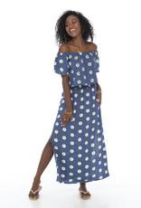 Skemo Off Shoulder Maxi Dress Daisy Indigo