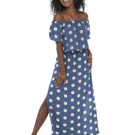 Skemo Off Shoulder Maxi Dress Daisy Indigo