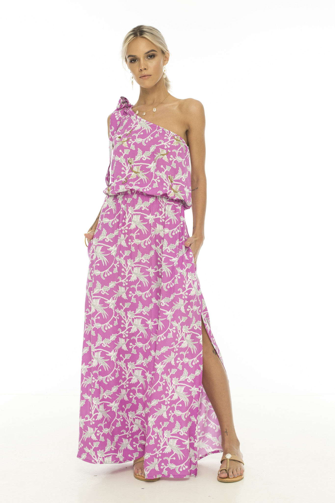 Skemo One Shoulder Maxi Dress Island Vibes Fuchsia