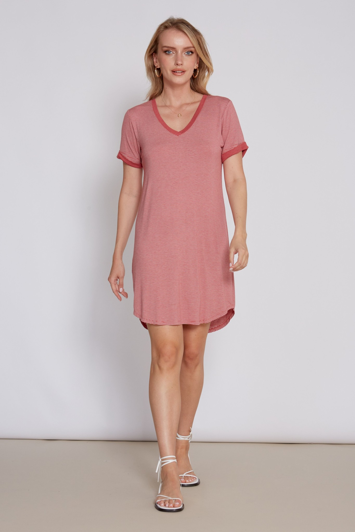 Another Love Christina Curved Hem Dress Wild Rose
