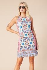 Hale Bob Sleeveless Print Dress Turquoise