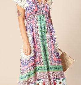 Hale Bob S/S Print Maxi Dress Coral