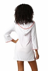 Helen Jon Hooded Terry Cover Up Coral Trim