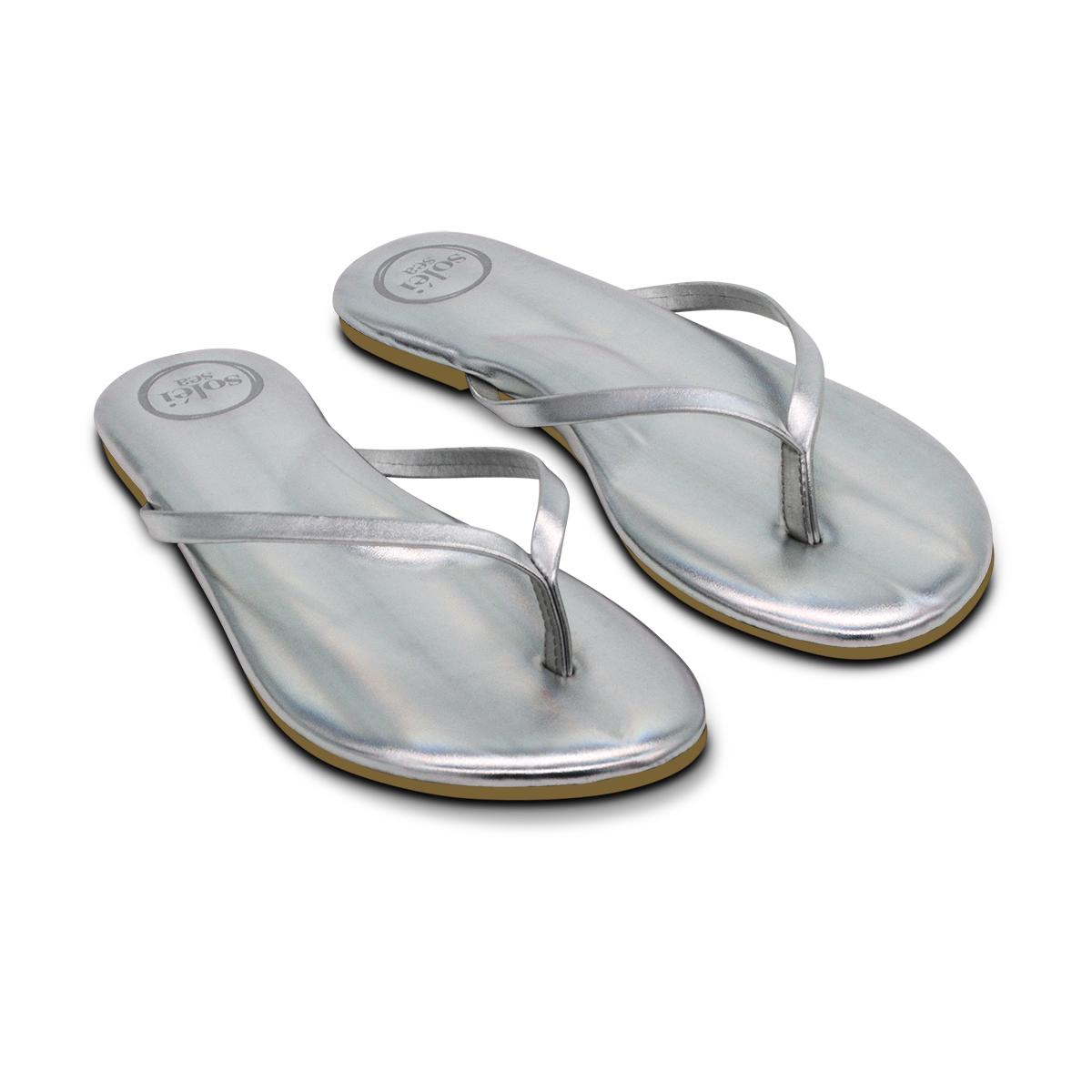 Solei Sea Metallic Silver Flip Flop