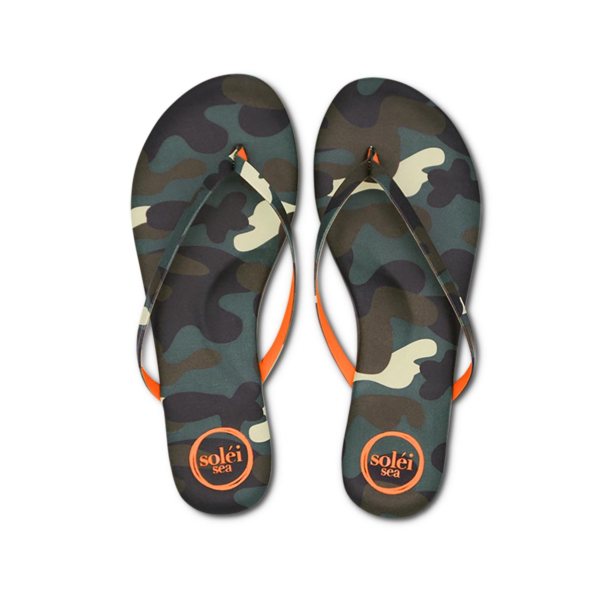 Solei Sea Camo & Orange Flip Flop