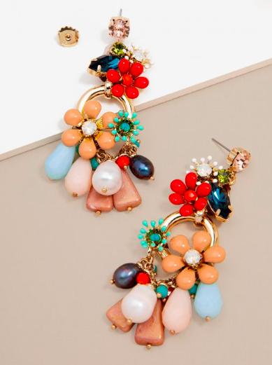 Jewelry Flower & Crystal Metallic Drop Earring