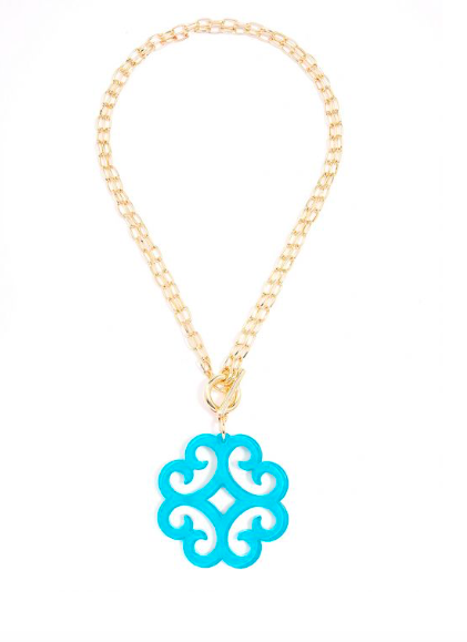 Jewelry Wave Resin Pendant Chain Necklace