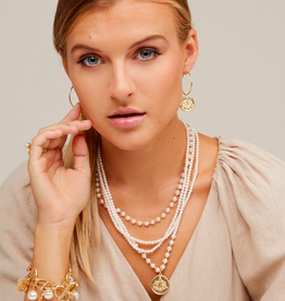 Jewelry Pearl Collar Necklace With Coin Pendant