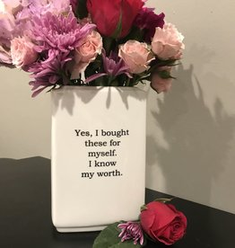 Buffalovely I Know My Worth Porcelain Vase