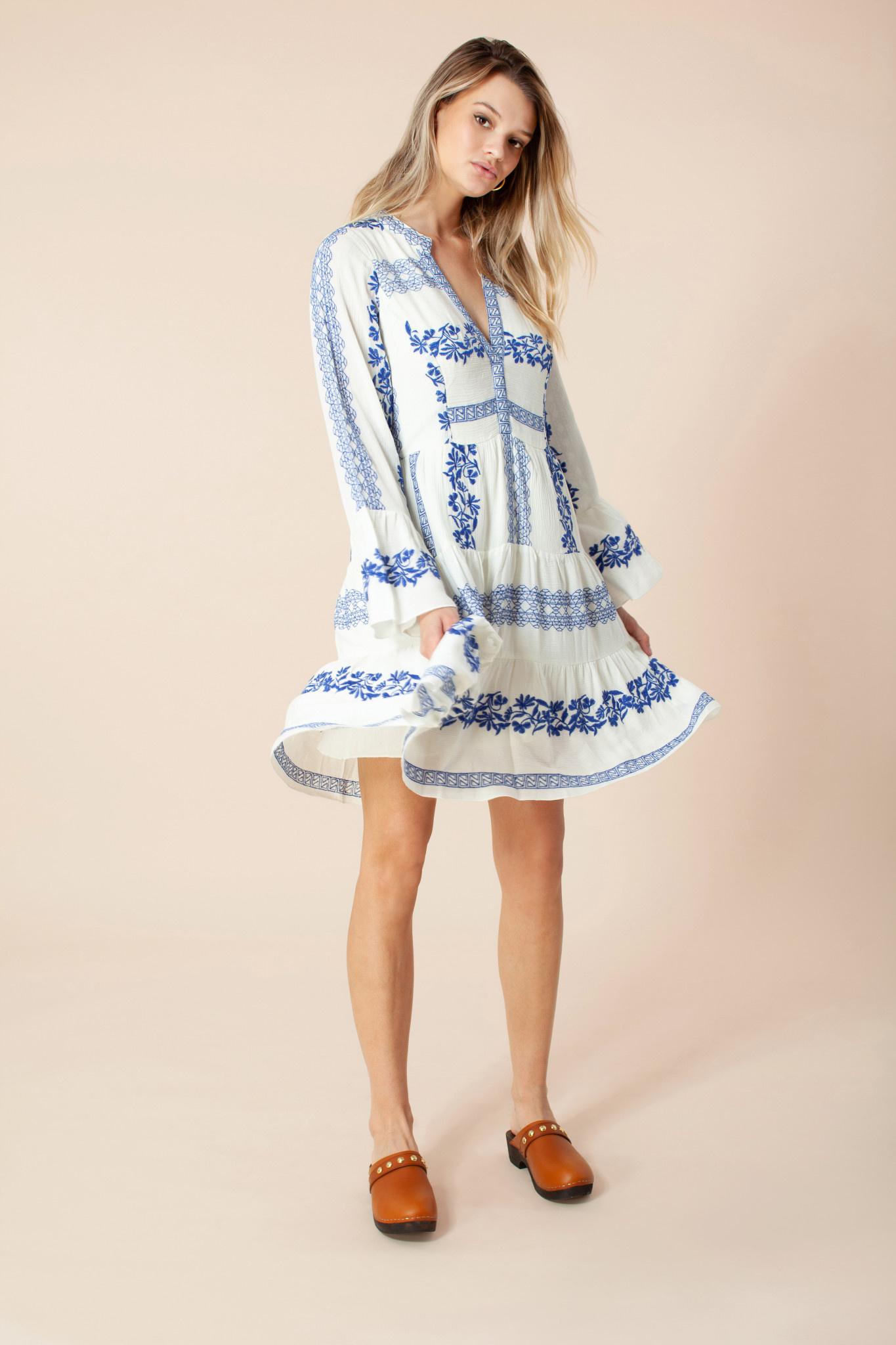 Hale Bob Embroidered Dress Blue