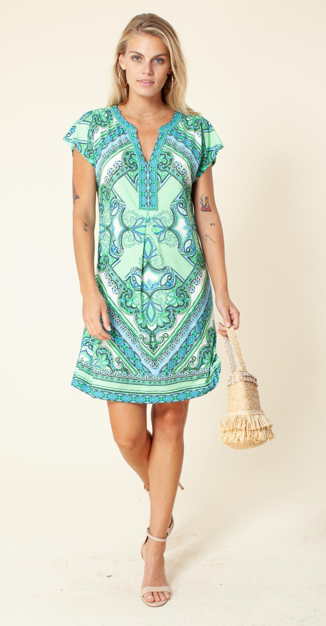Hale Bob Short Sleeve Dress Lime