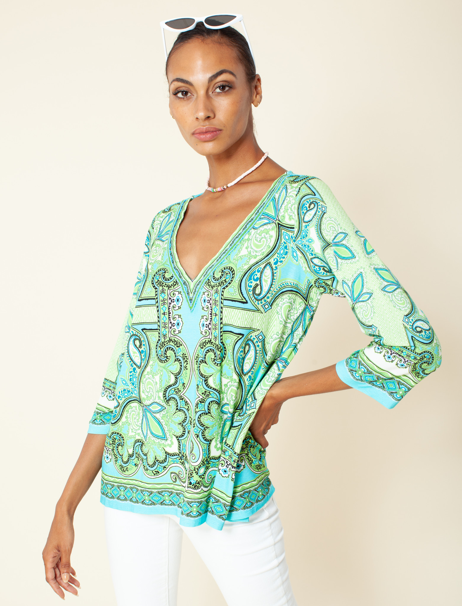 Hale Bob V Neck Top Lime