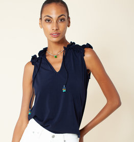 Hale Bob Navy Solid Sleeveless Top