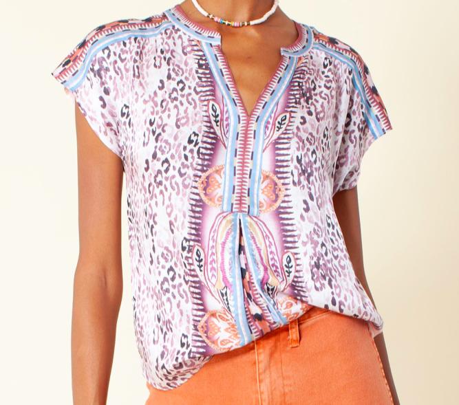 Hale Bob Blush Printed Short Sleeve Top