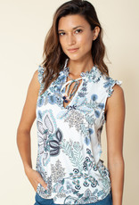 Hale Bob Print Sleeveless Tie Top Denim