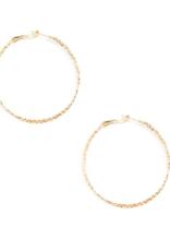 Jewelry Thin Textured Hoop Earring