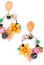 Jewelry Colorful Crystals And Medallions Drop Hoop Earring