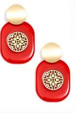 Jewelry Resin Emblem Earring