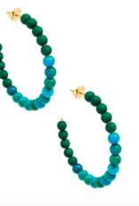 Jewelry Porcelain & Resin Beaded Hoop Earring