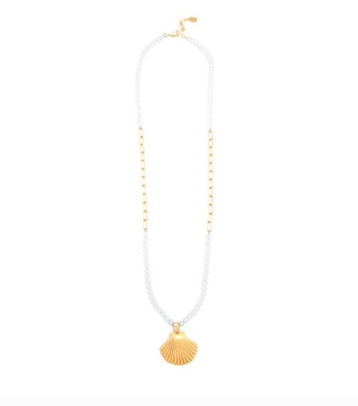 Jewelry Seashell And Lucite Long Pendant Necklace