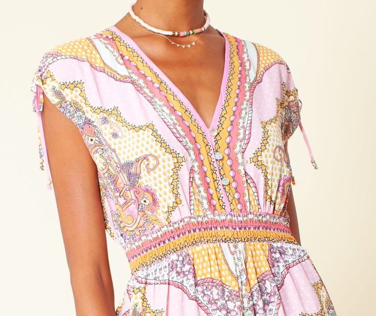 Hale Bob Daisy Maxi Dress Coral