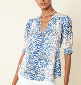 Hale Bob Animal Print Top Blue