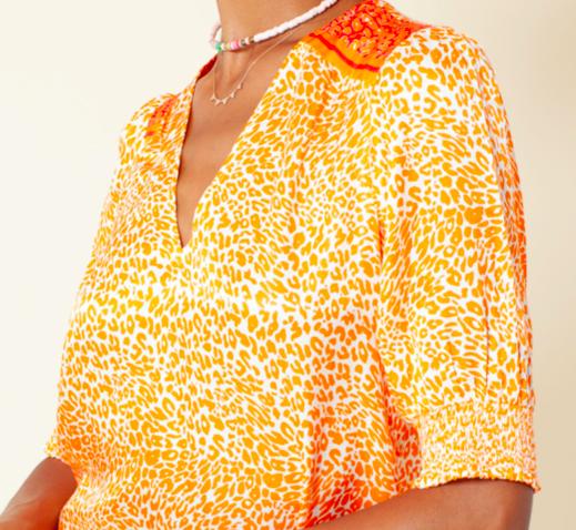 Hale Bob Animal Print Top Orange