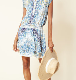 Hale Bob Animal Print Dropped Waist Dress Blue