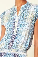 Hale Bob Animal Print Dropped Waist Dress Blue