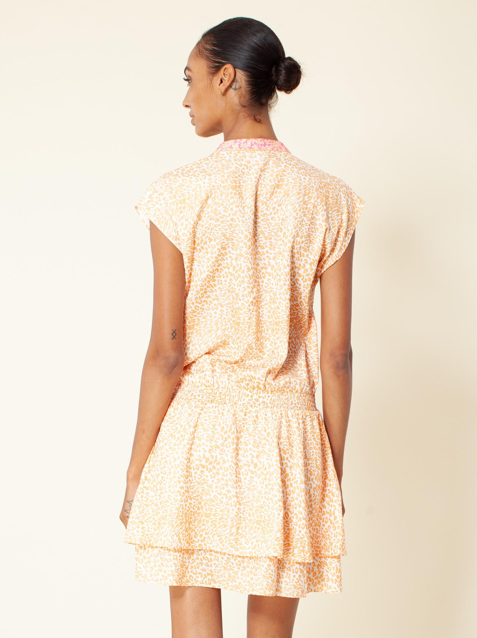Hale Bob Animal Print Dropped Waist Dress Orange