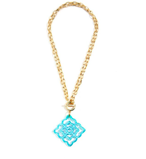 Jewelry Flower Resin Pendant Necklace Bright Blue