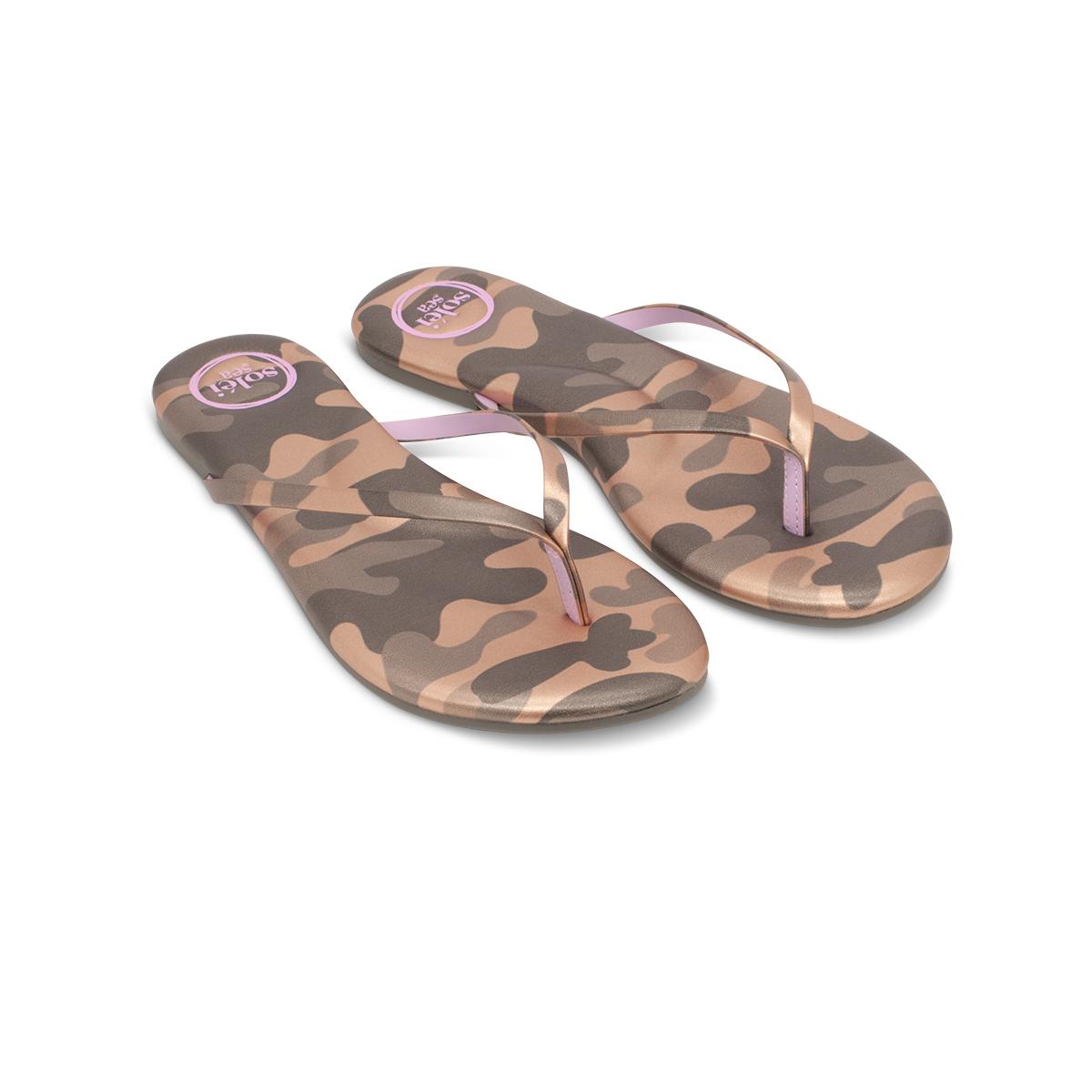 Solei Sea Solei Sea Camo Metallic Gold & Lilac Flip Flop