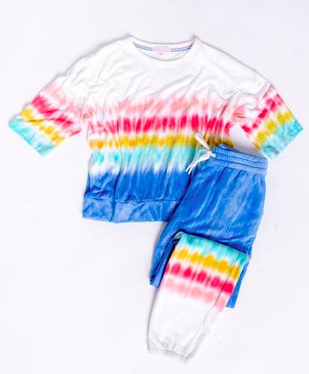 PJ Salvage Rainbow Sunsets Banded Pant